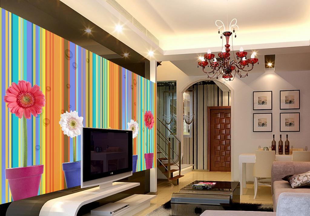 创意向日葵电视背景墙图片