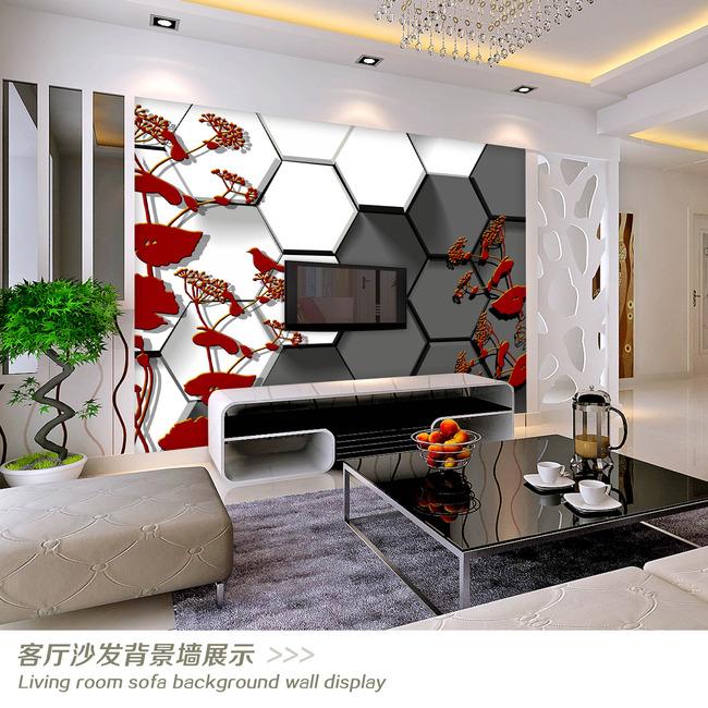3d立体黑白格子手绘花鸟电视背景墙