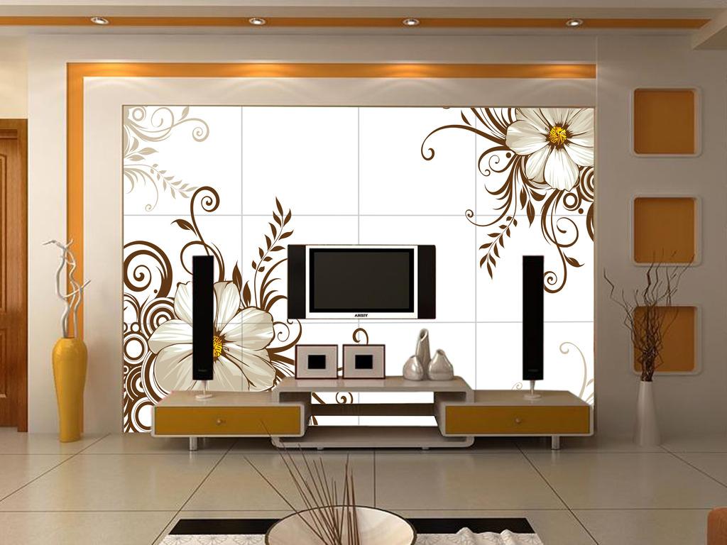 欧式风格手绘花朵电视背景墙