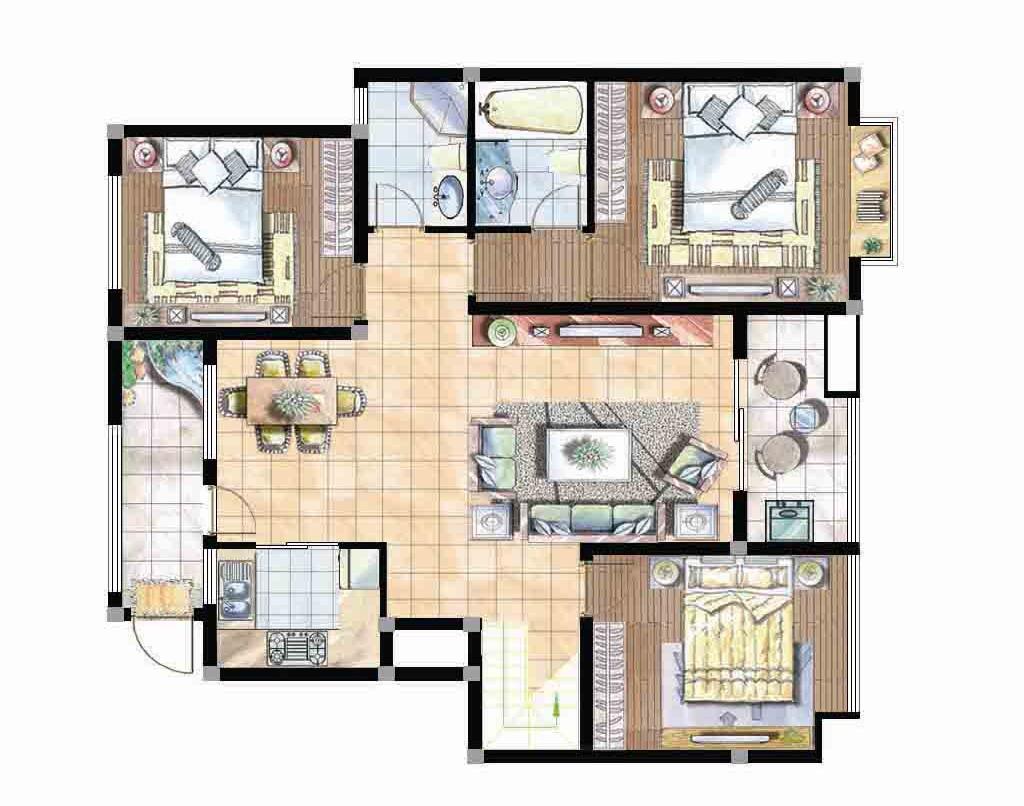 欣赏 室内/彩色室内CAD平面图PSD