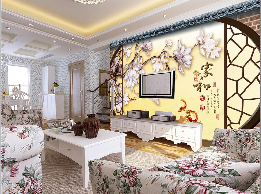 客厅窗格仿彩雕玉兰花电视背景墙图片
