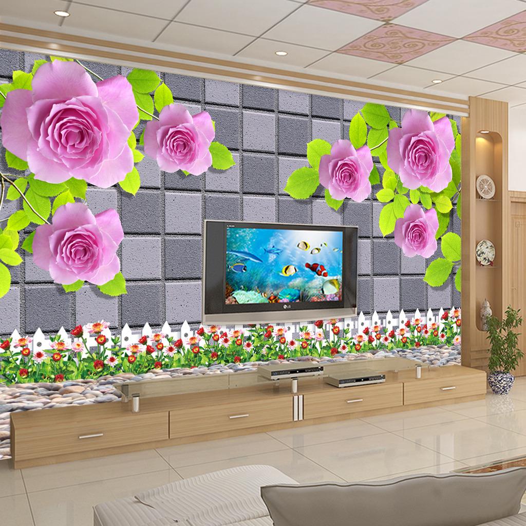 壁纸 背景墙/3D立体玫瑰电视背景墙壁画壁纸