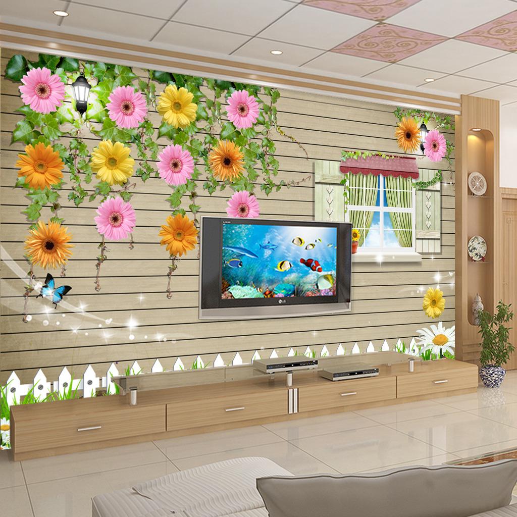壁纸 背景墙 花卉/3D立体花卉电视背景墙壁画壁纸