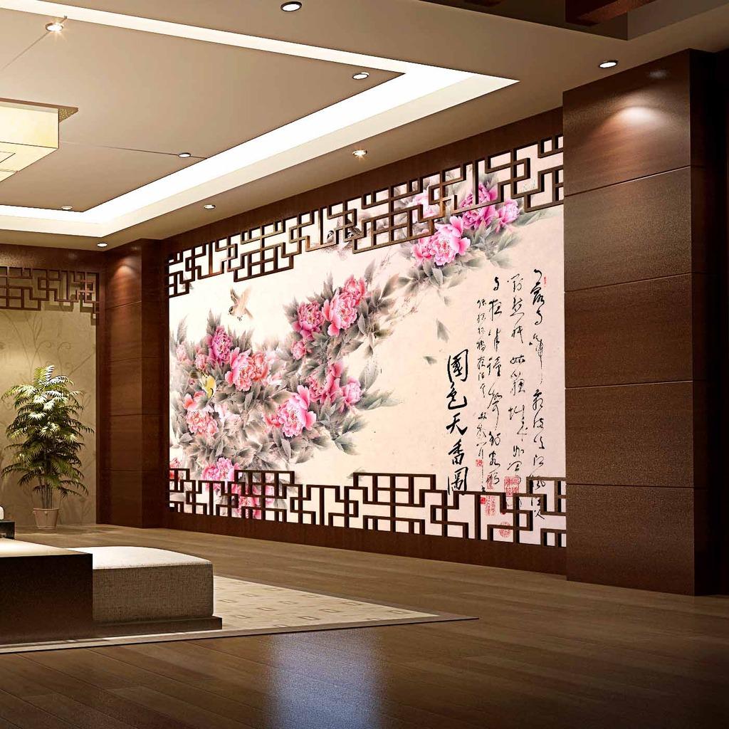 背景背景墙电视背景国画花鸟 牡丹 中国风 水墨 古画 装饰画 墙纸