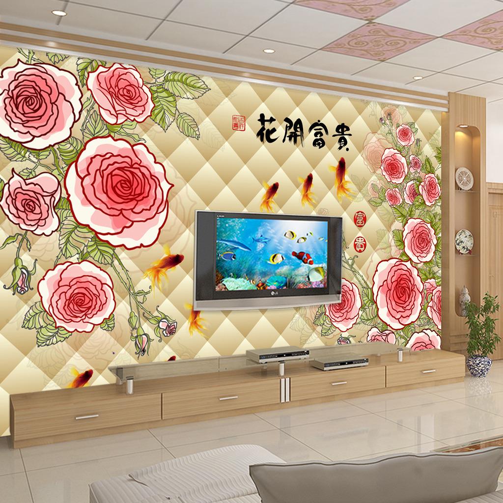 壁纸 背景墙/3D立体玫瑰电视背景墙壁画壁纸模板下载