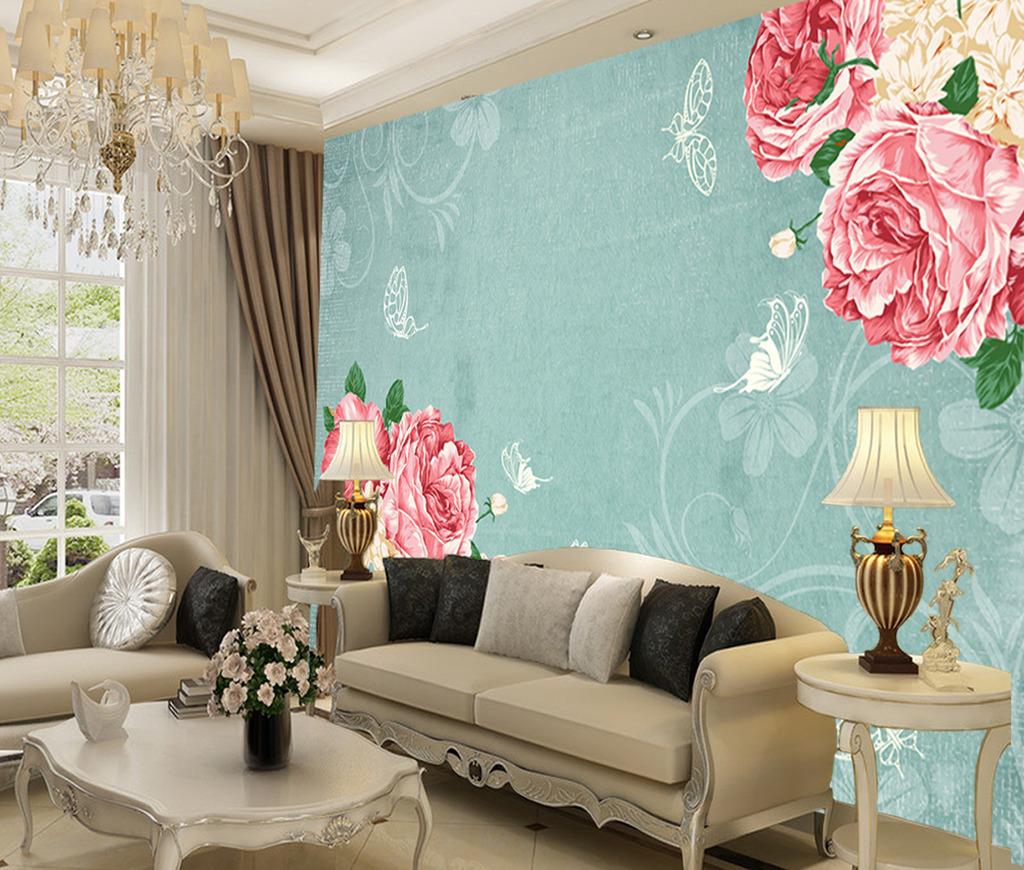 时尚欧式牡丹花电视背景墙壁画