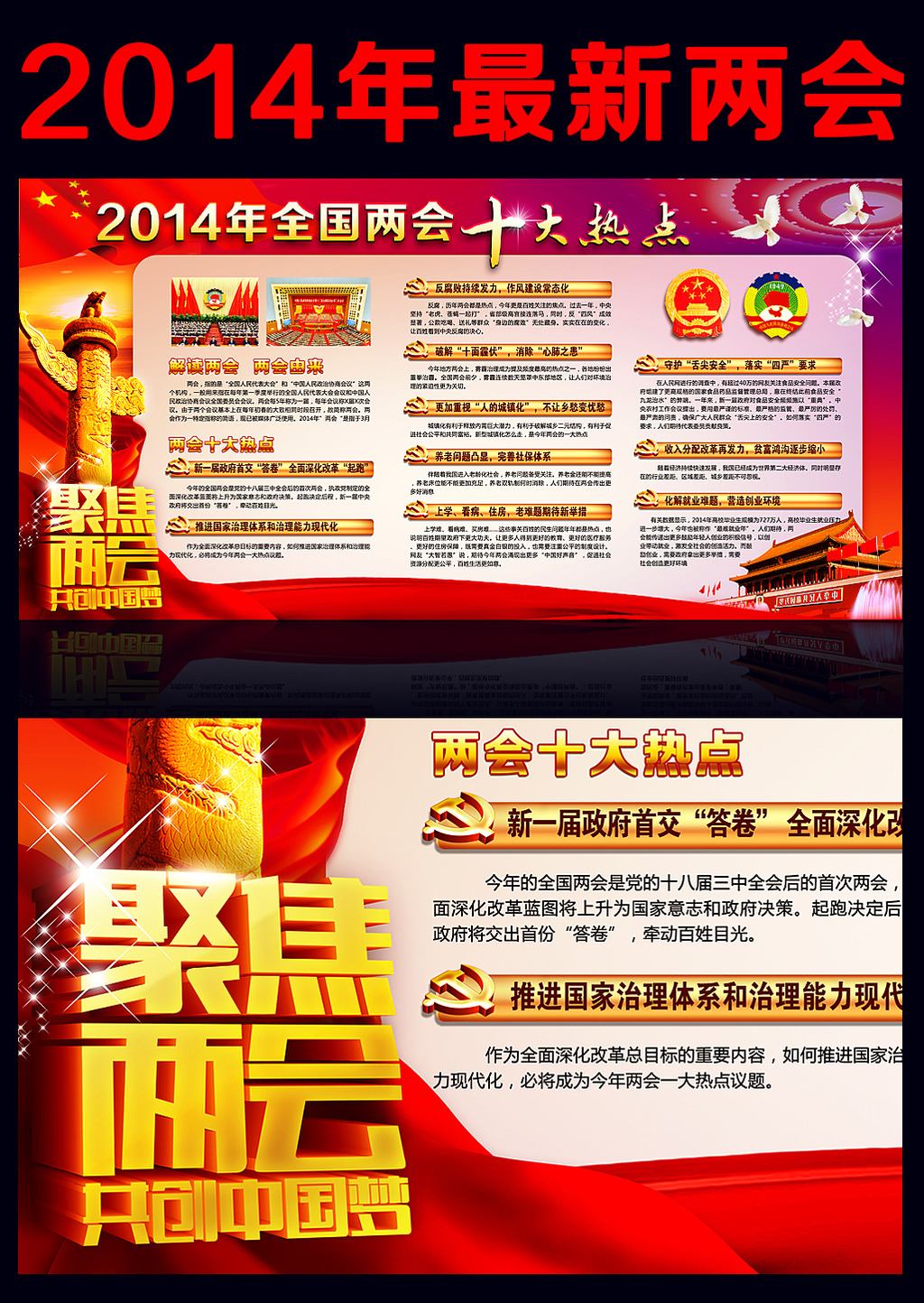 2014聚焦两会十大热点宣传展板模板下载 2014聚焦两会十大热点宣传