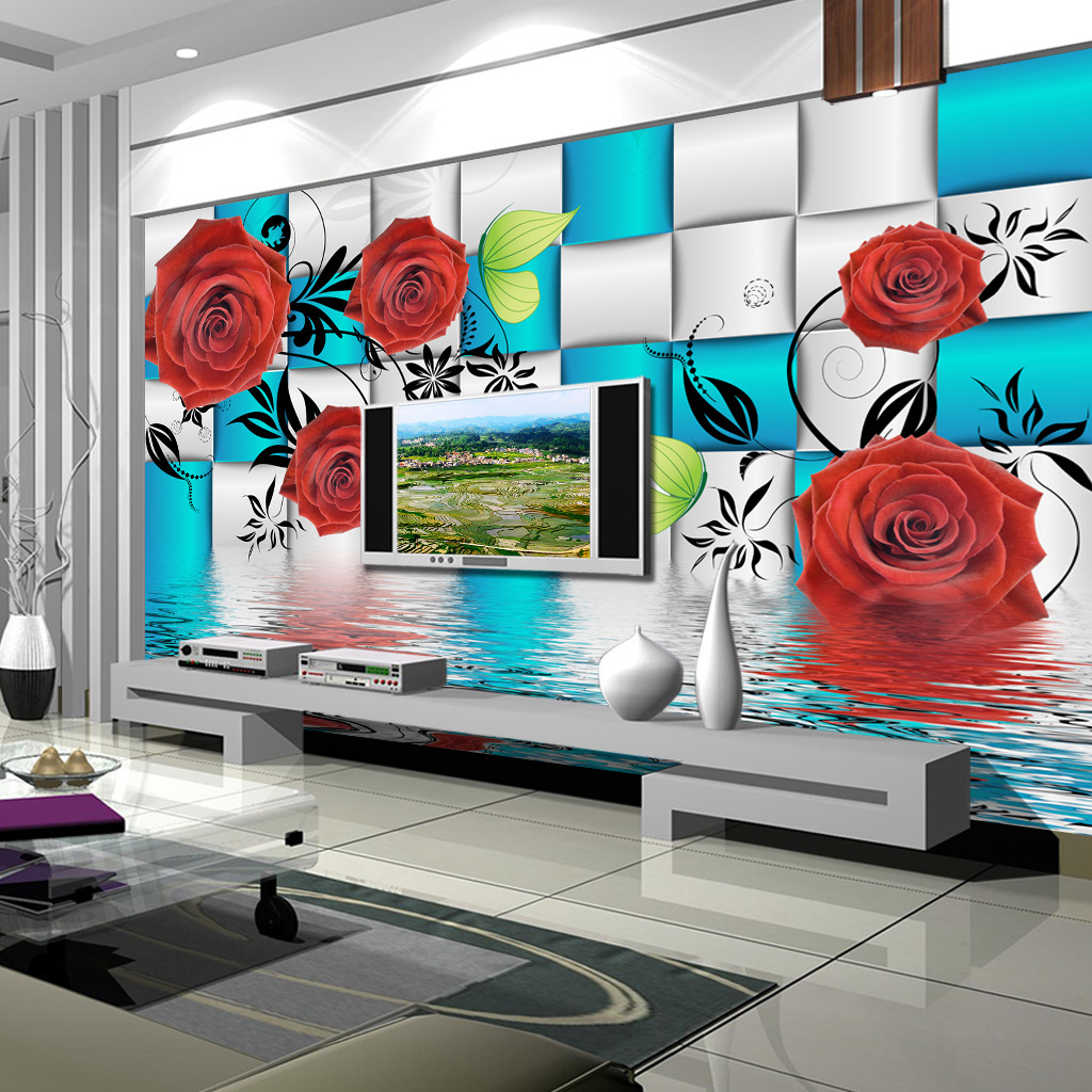 蓝3d玫瑰装饰画图片下载  壁画 装饰画 现代 沙发背景 玫瑰 蝴蝶 水