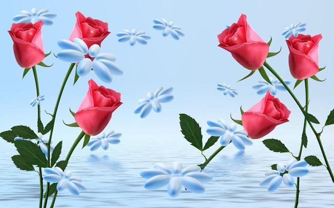 动感3d立体玫瑰装饰画
