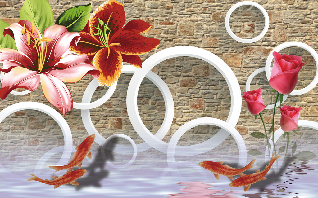 3d现代立体手绘花纹