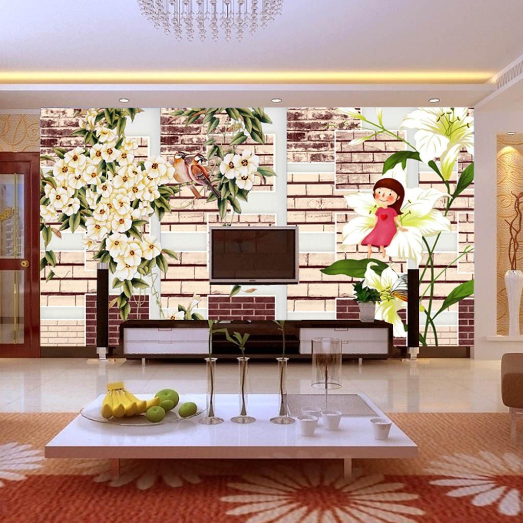 背景墙 电视 模板/淡雅花朵3D电视背景墙模板