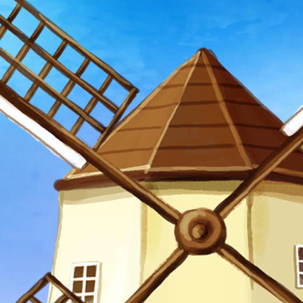 手绘风车风景电视背景墙