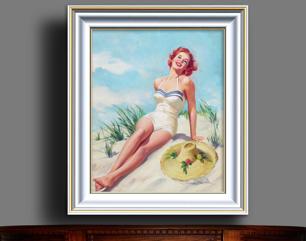 女孩 金发/沙漠中的金发女孩现代风格油画