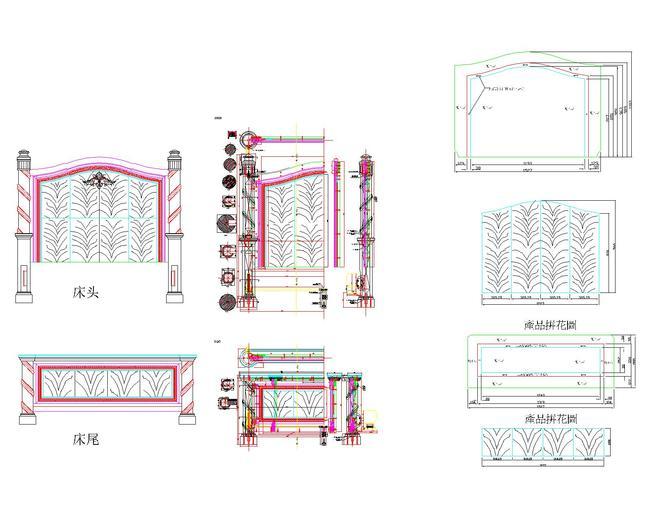 cad图库 家具设计图 床图纸 > 柱子床设计图