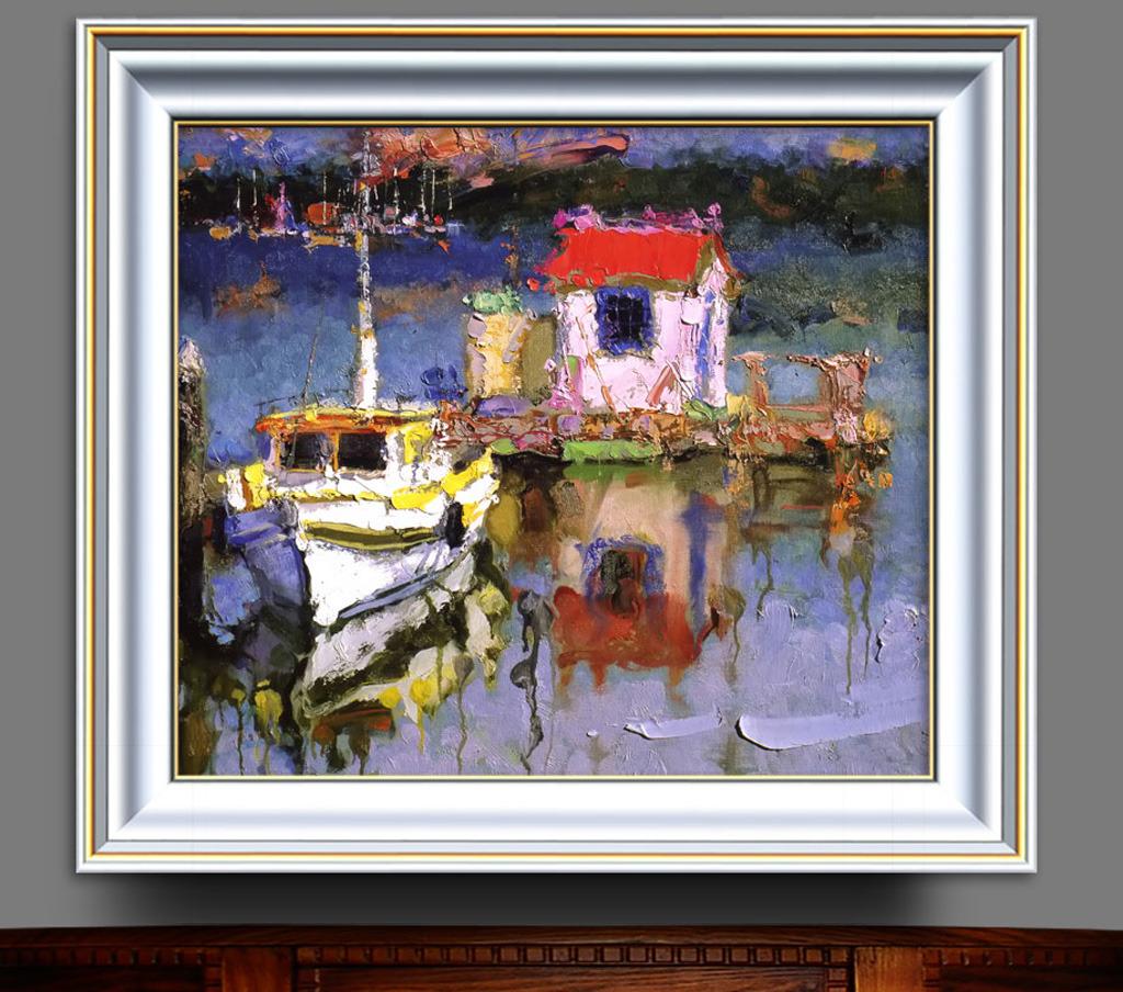 风景/岸边的船抽象主义风景油画