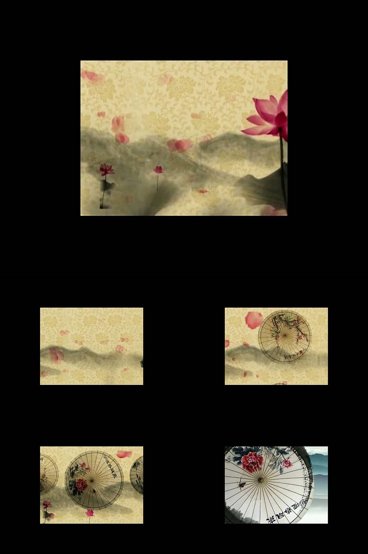高清水墨荷花花瓣雨伞视频模板下载 11668365 动态 特效 背景视频素