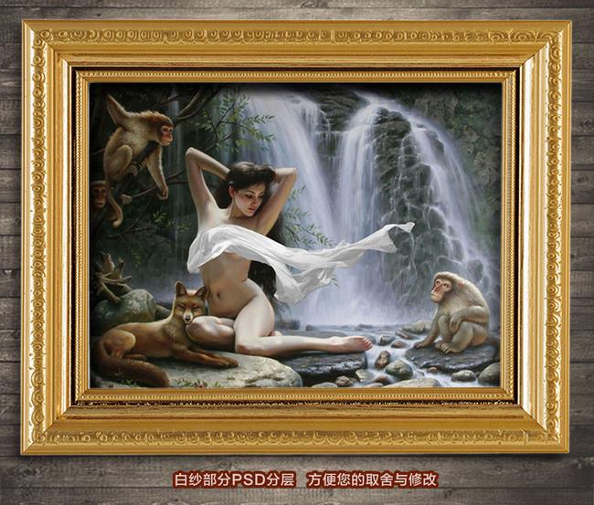 背景墙装饰画油画人体油画瀑布前的少女现代写实风格油画下一