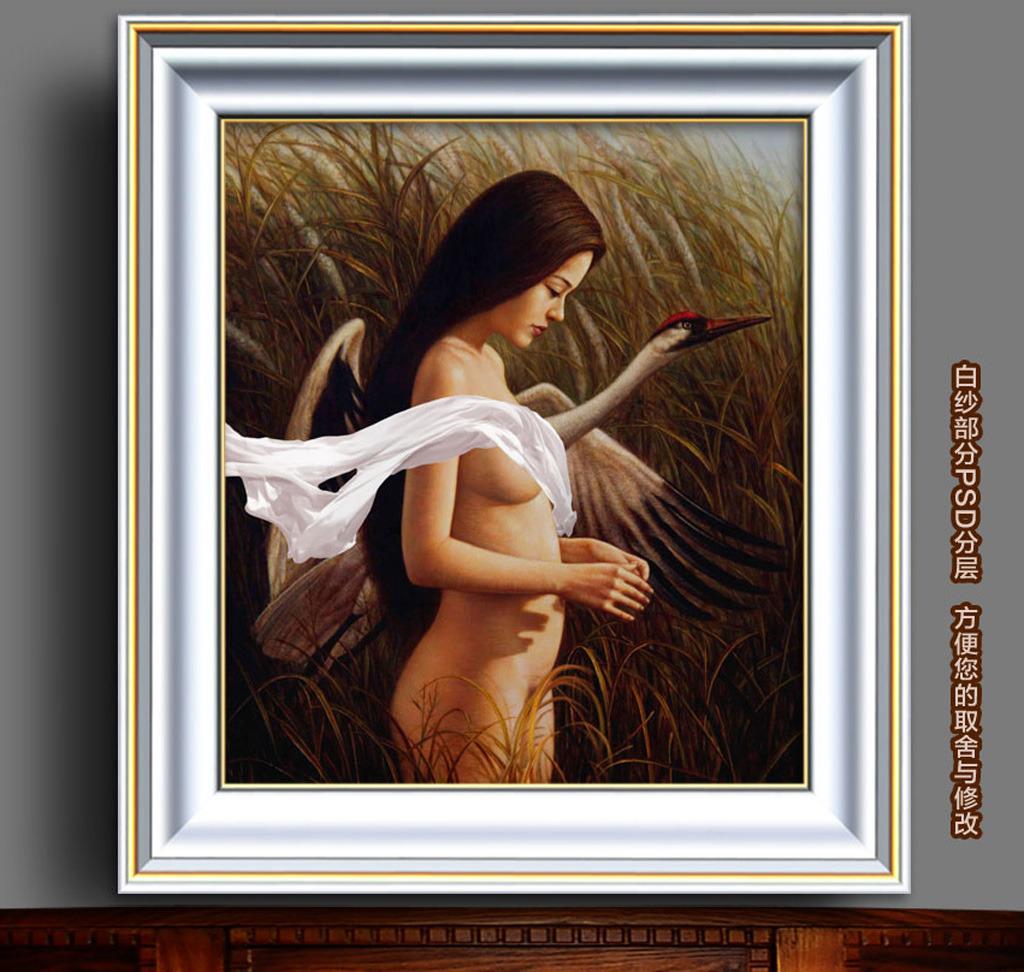 少女/芦苇中的少女与天鹅新古典主义油画...