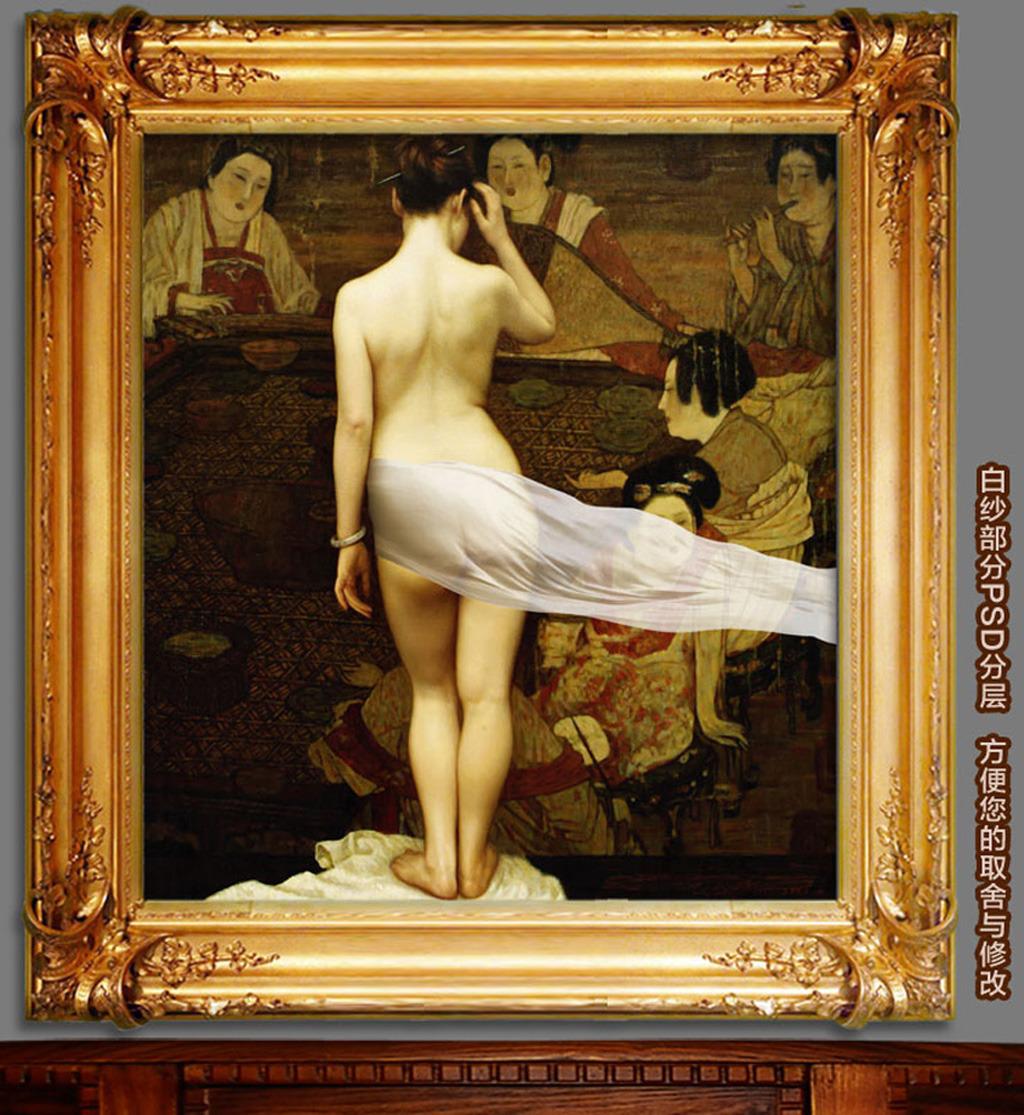 古画前的女子新古典主义油画