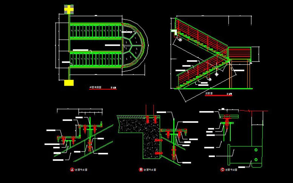 钢制玻璃楼梯详图模板下载 钢制玻璃楼梯详图图片下载