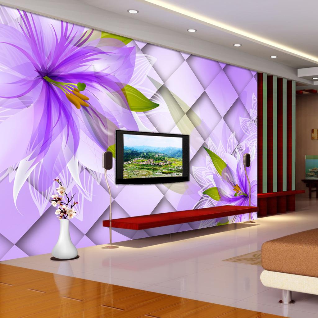 背景墙 电视 装饰画/[版权图片]3D立体花卉电视背景墙装饰画