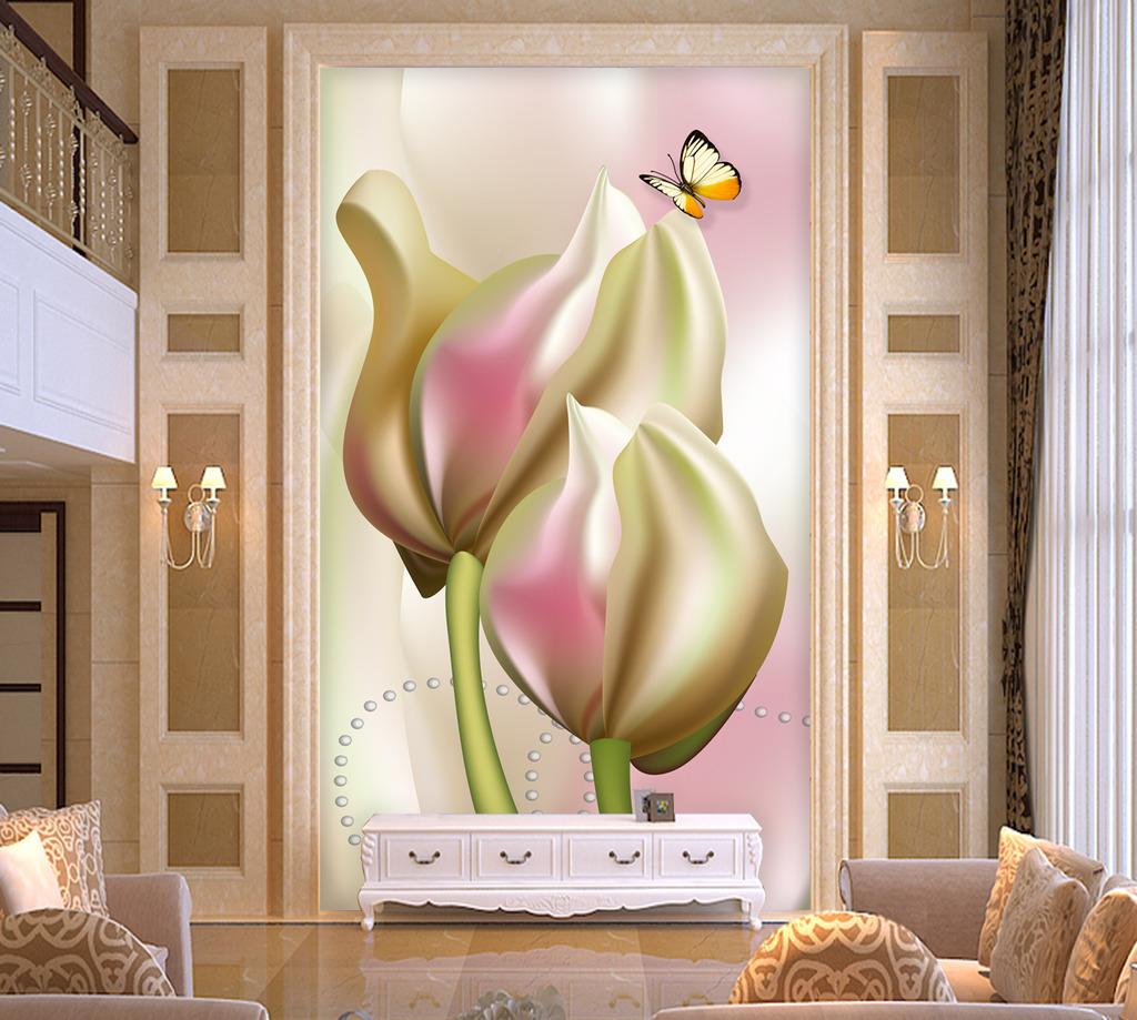 唯美手绘百合玄关门厅背景墙