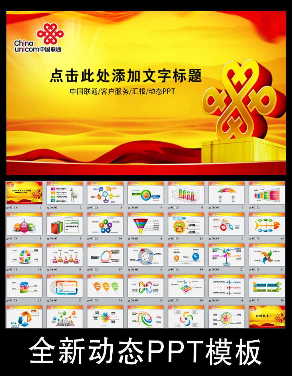 中国联通客户服务工作汇报总结幻灯片PPT模板下载 中国联通客户服务