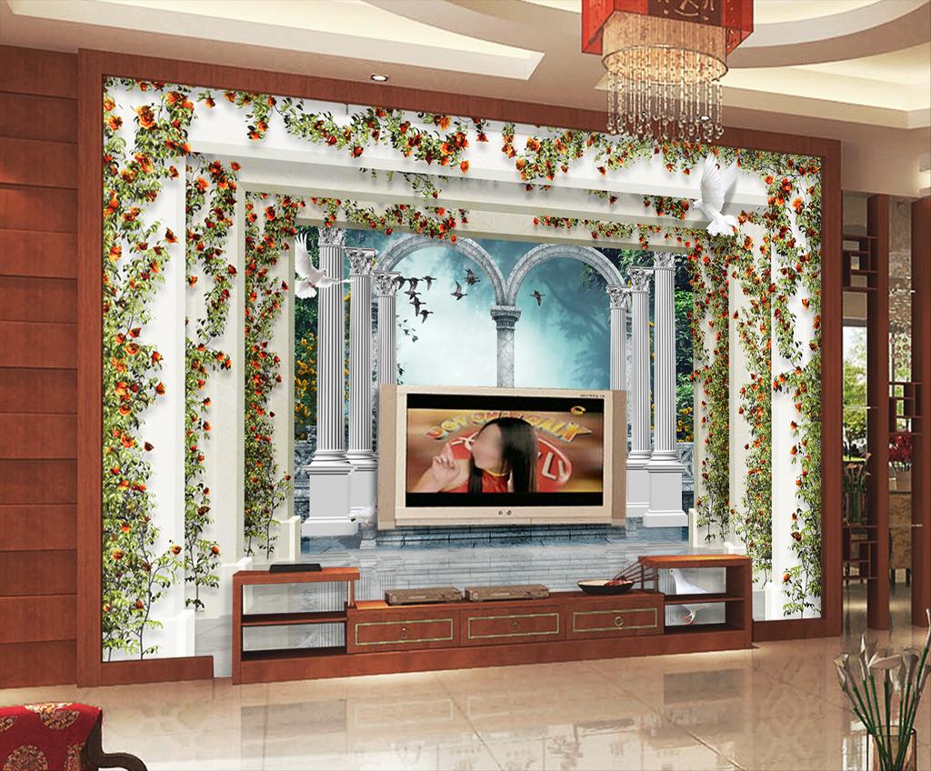 欧式风景3d罗马柱园林蔷薇电视背景墙