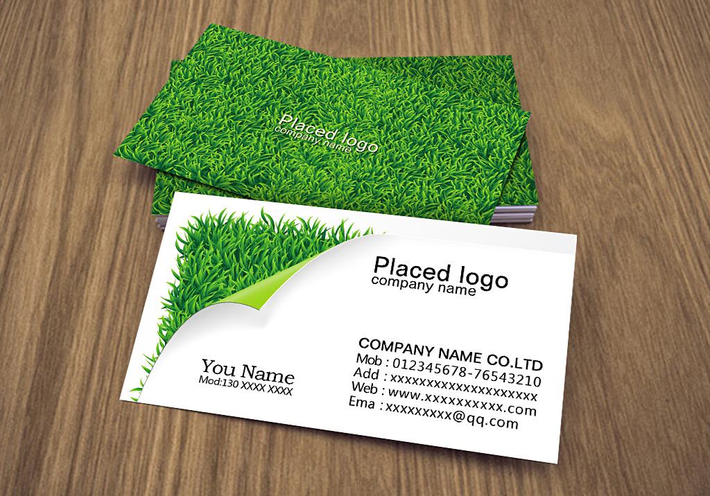 绿色简约创意名片模板
