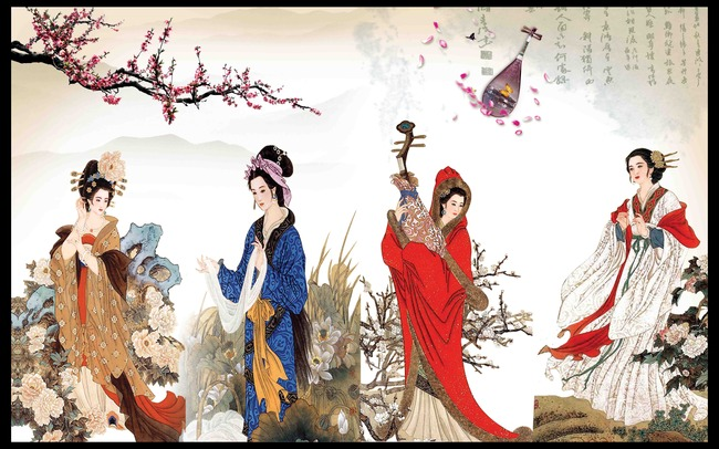 古代四大美女室内背景墙