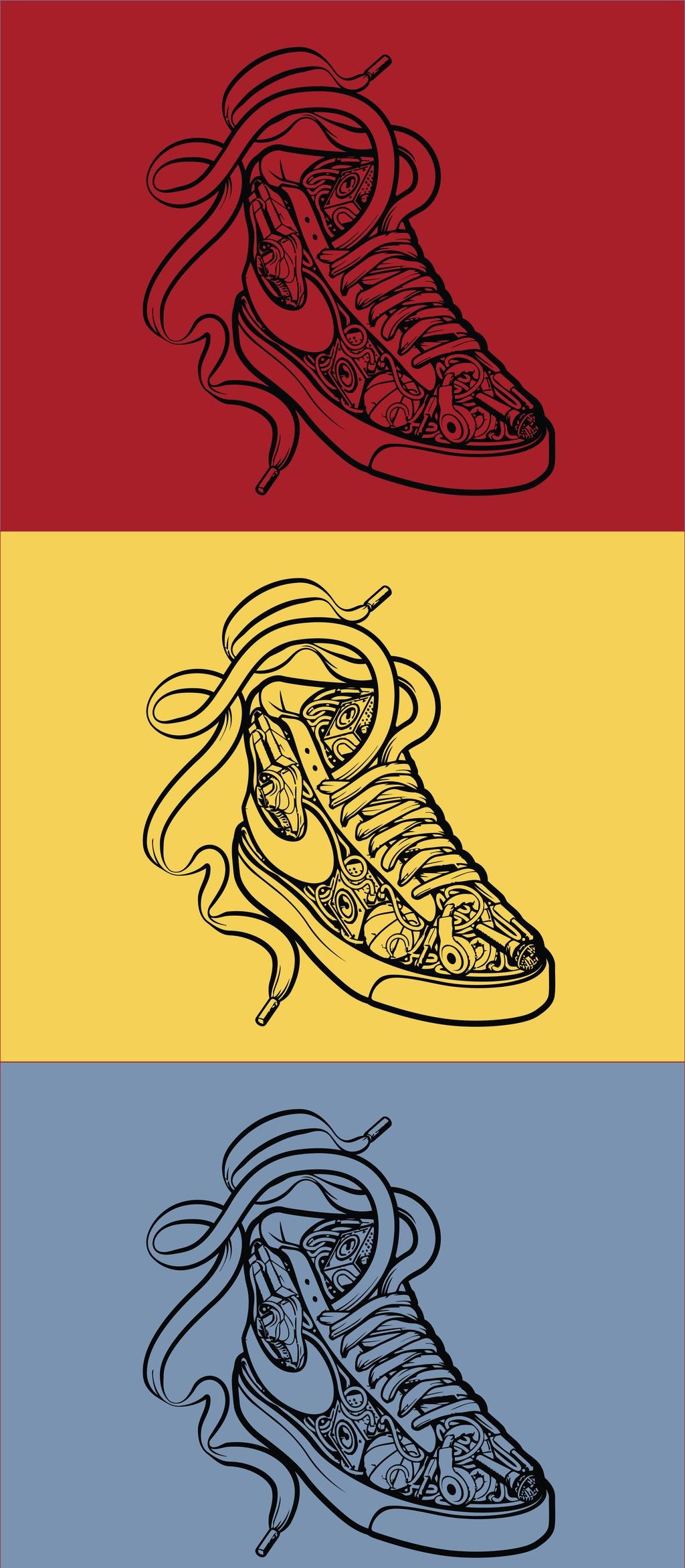 nike运动鞋卡通矢量插画