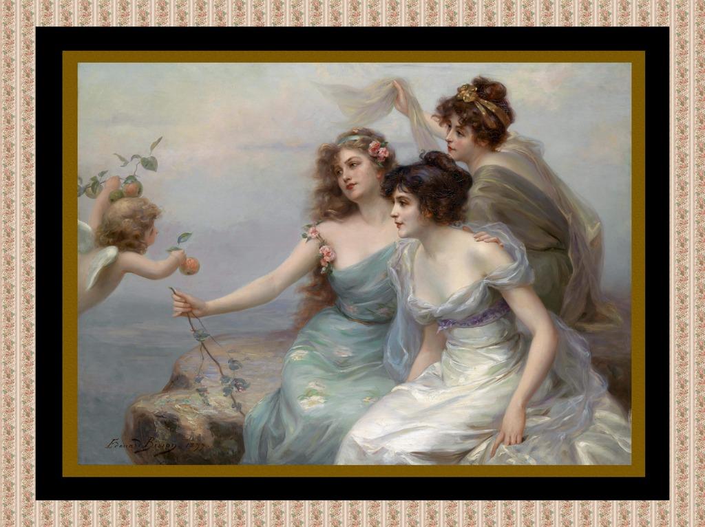 欧洲古典美女天使油画
