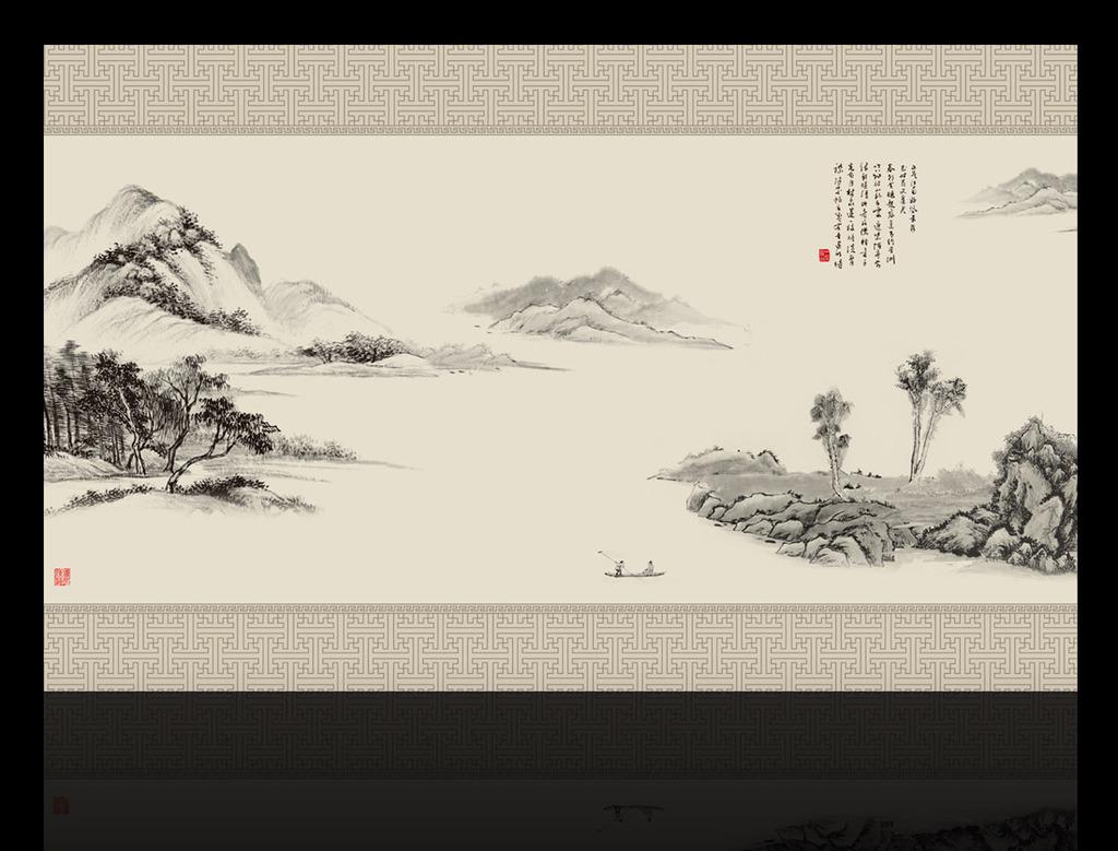 中式电视背景墙 > 山水国画电视背景墙装饰画