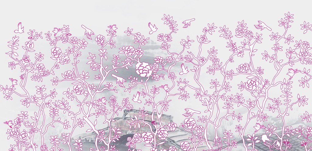 花鸟图矢量壁纸高清壁纸手绘模板下载(图片编号:)_墙