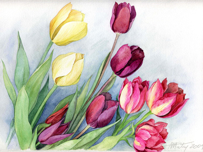 手绘水彩花朵花卉装饰画