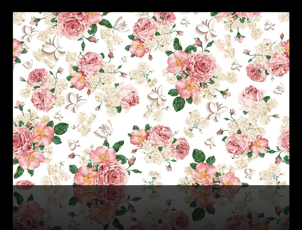 手绘牡丹3d蝴蝶电视背景墙