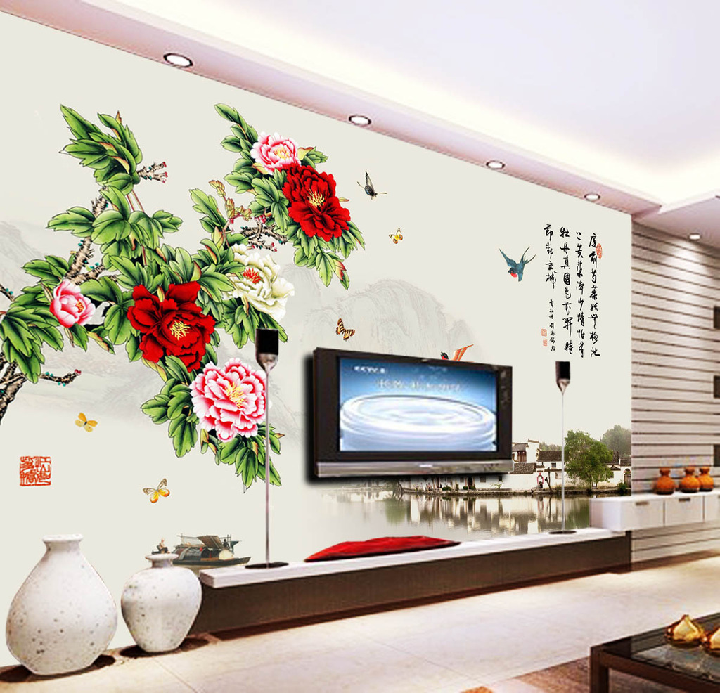 背景墙|装饰画 电视背景墙 手绘电视背景墙 > 富贵牡丹电视墙背景墙