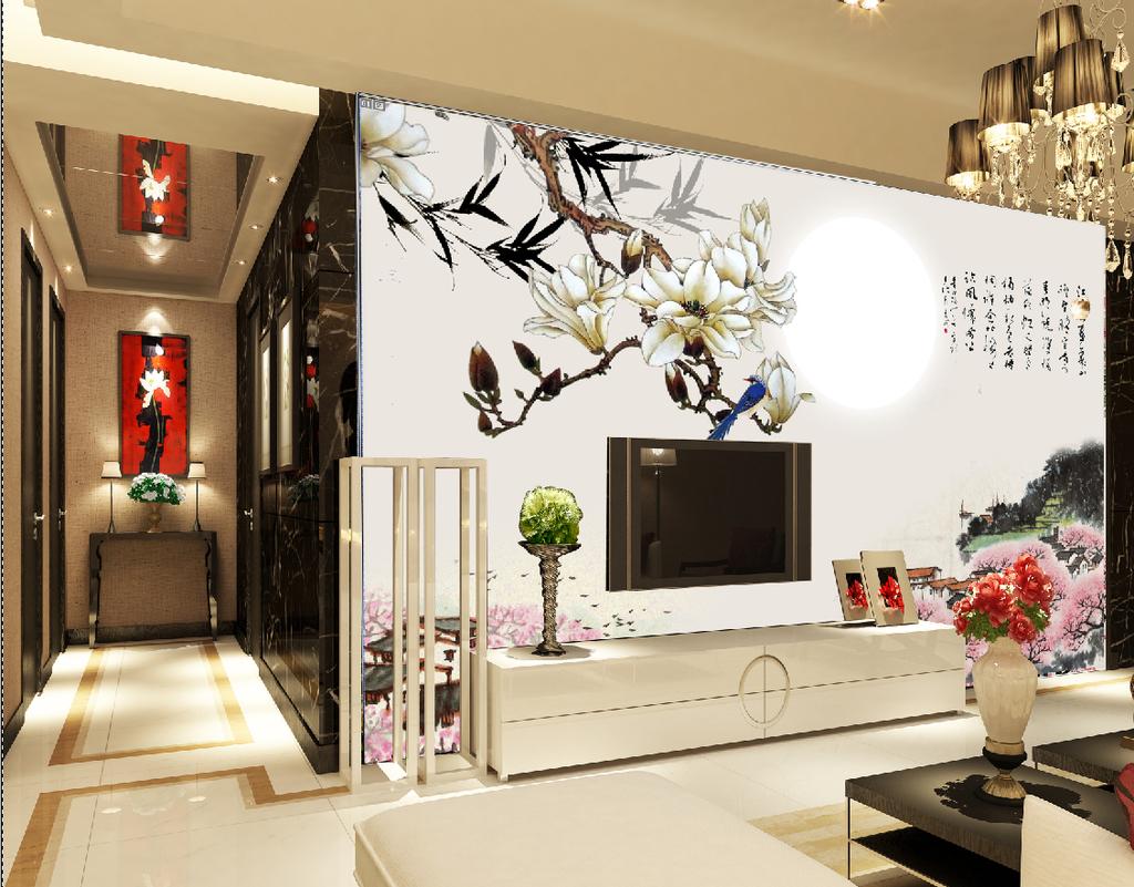 客厅玉兰花国画电视背景墙图片