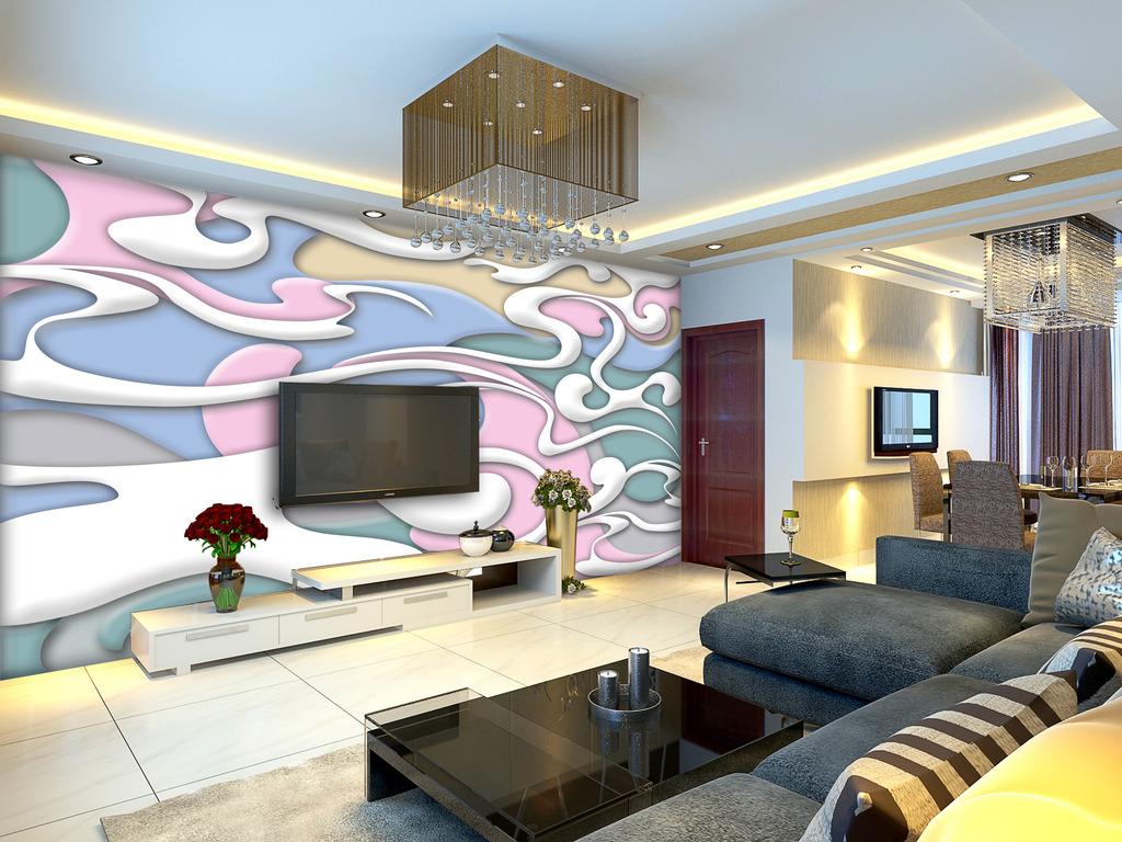 3d抽象云纹电视背景墙