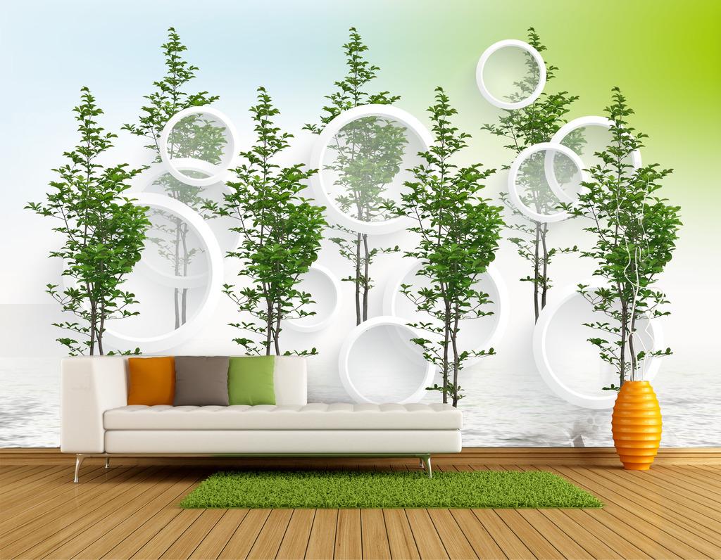 3d立体圆环大型树背景墙装饰画