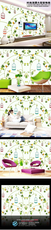 绿色卡通抽象欧式花纹背景墙