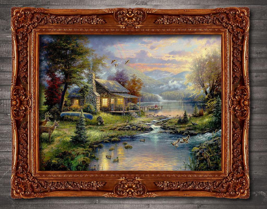 溪水边的小木屋梦幻风景系列油画