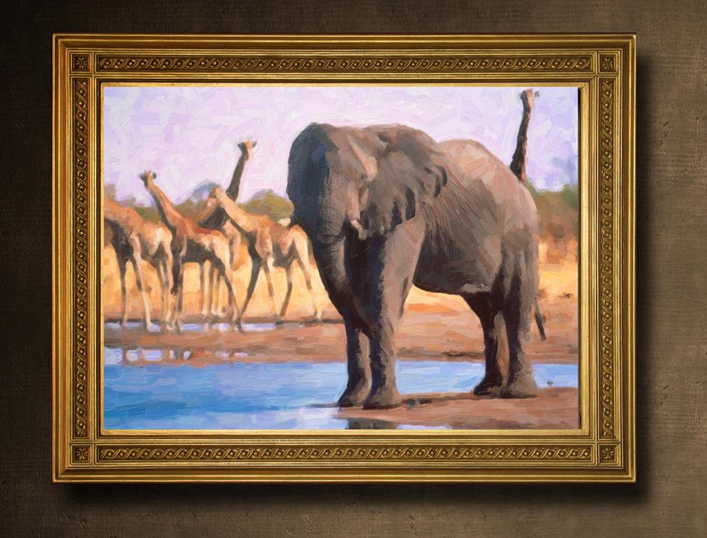 大象油画模板下载 大象油画图片下载