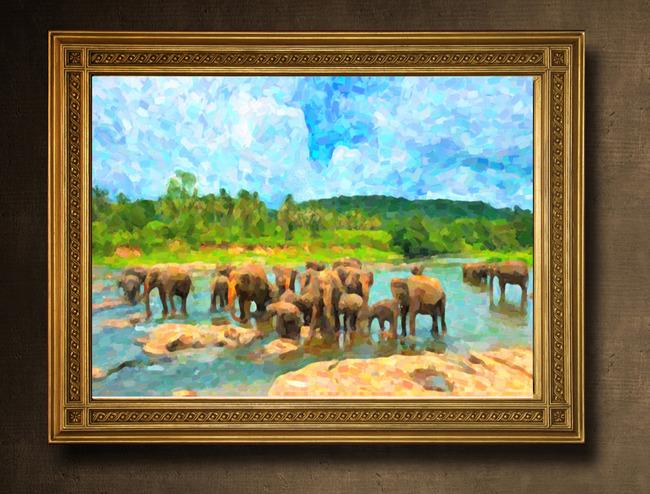 大象风景油画模板下载