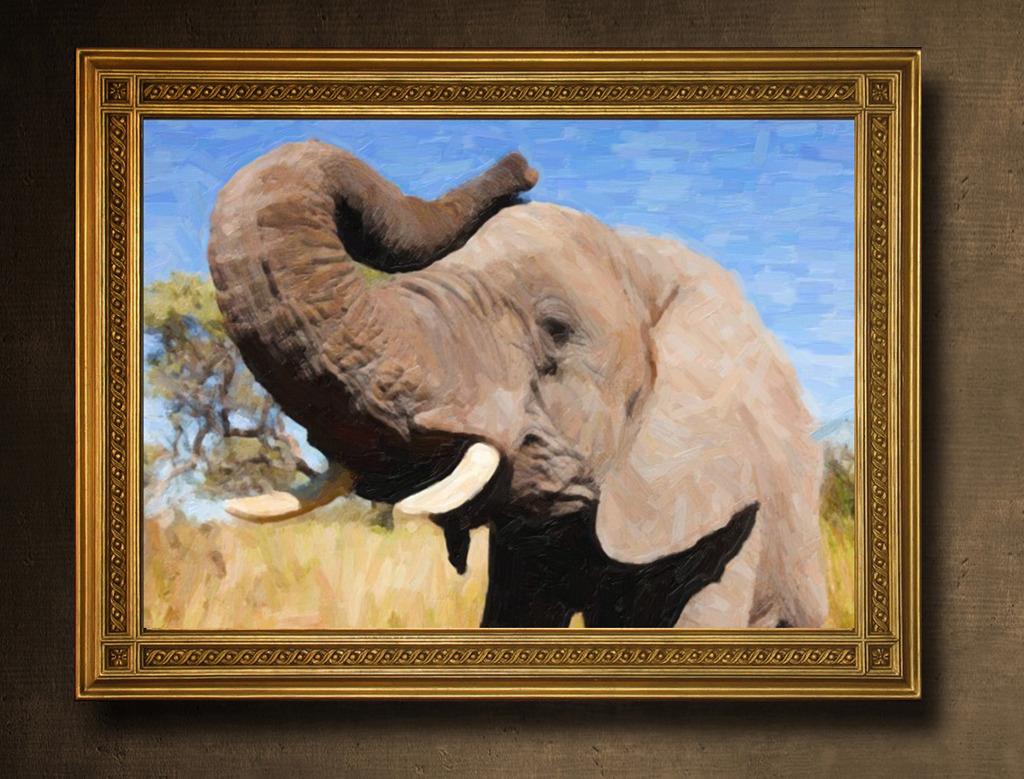 吉祥大象油画模板下载