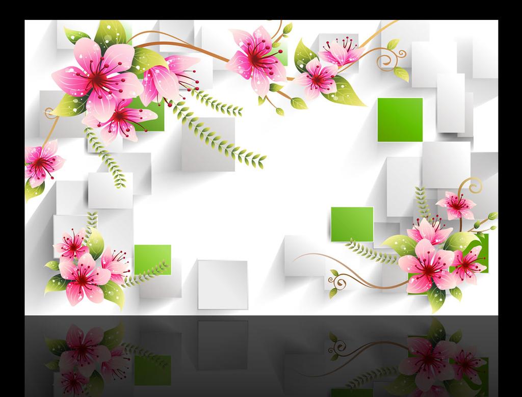 手绘花朵3d立体电视背景墙装饰画