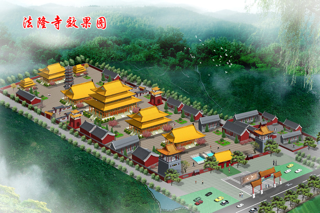 寺庙鸟瞰图
