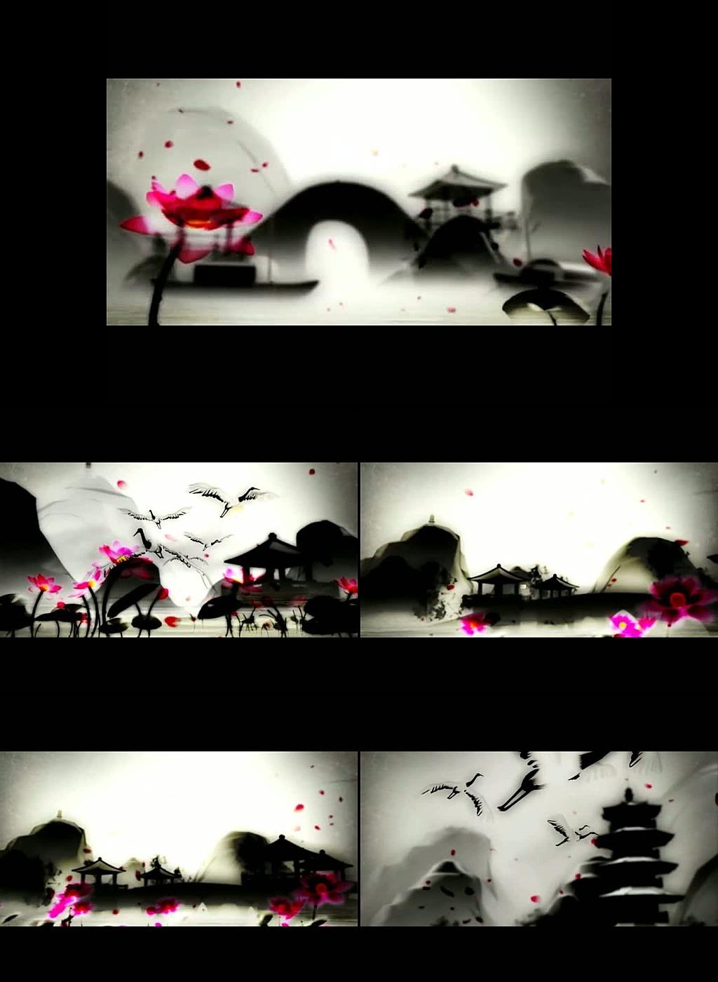 水墨荷花小桥流水视频素材模板下载(图片编号:)图片