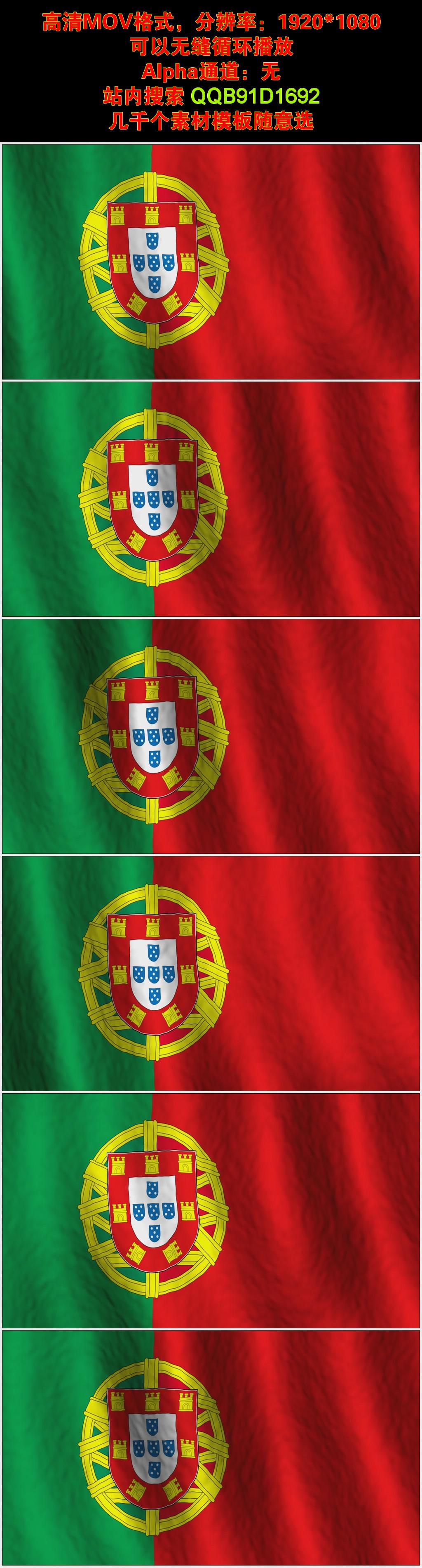 葡萄牙国旗视频素材vj背景模板下载 11730255 LED视频素材 动态视频图片