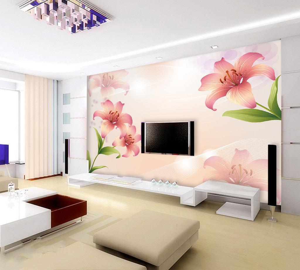 百合花电视背景墙